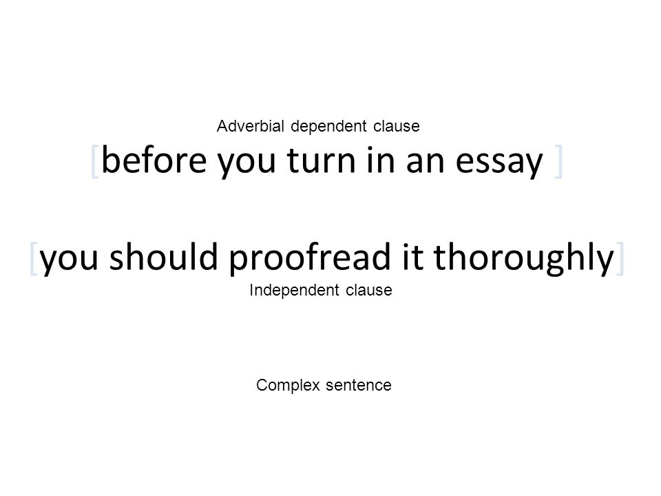 [before you turn in an essay ] [you should proofread it thoroughly]